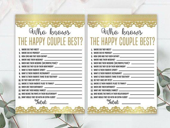 Wedding Anniversary Party Sheets Gold Game 50th Anniversary Golden Anniversary 50th Wedding Anniversary Game Who Knows The Couple 50th Wedding Anniversary Party Anniversary Party Games Anniversary Games