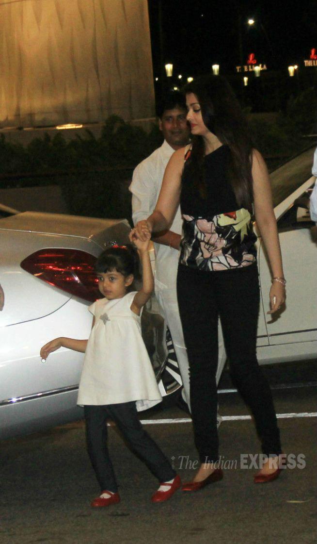 Aishwarya Rai Bachchan with her daughter Aaradhya at the Mumbai airport. #Bollywood #Fashion #Style #Beauty