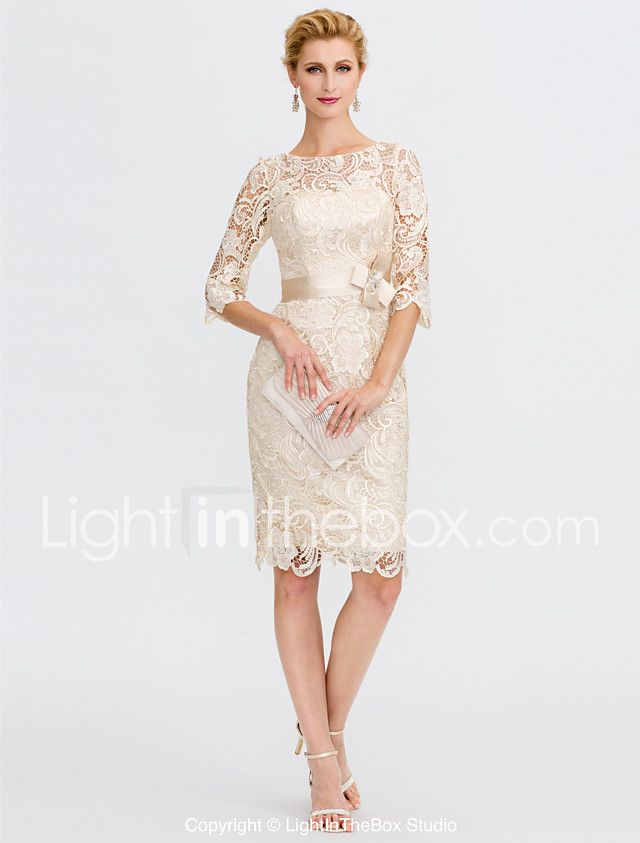 17138e7f61 Sheath   Column Illusion Neckline Knee Length Lace Mother of the Bride  Dress with Bow(s) Sash   Ribbon by LAN TING BRIDE® 2018 -  129.99