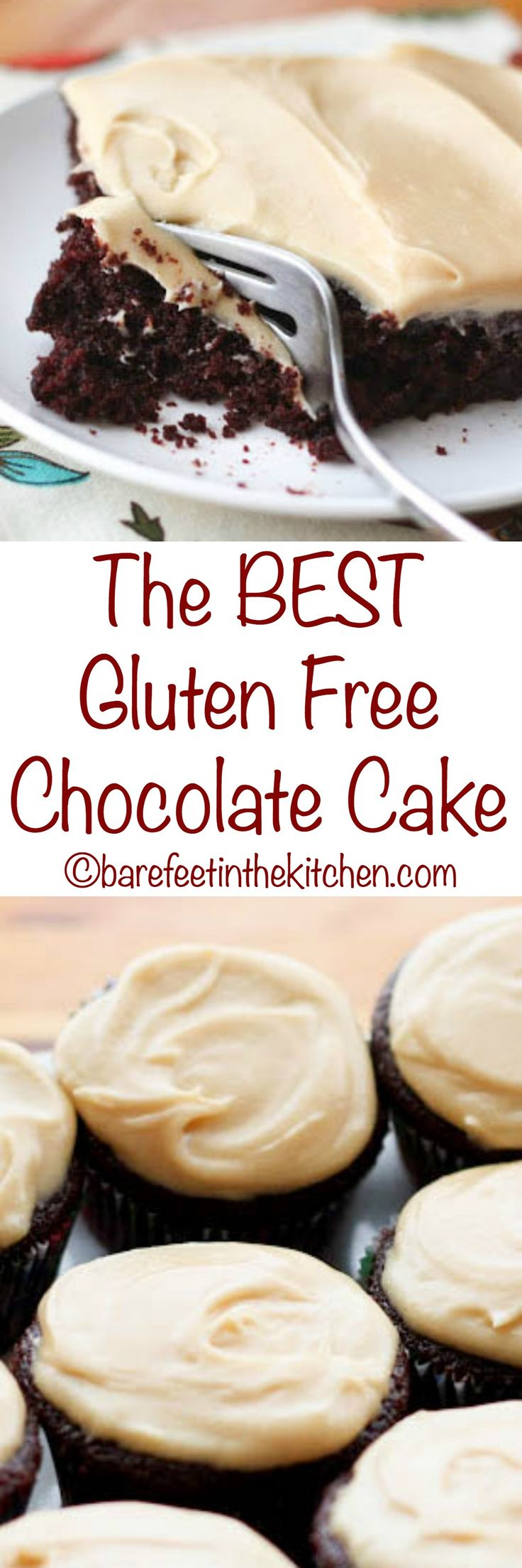 """The BEST Gluten Free Chocolate Cake doesn't taste """"gluten free"""" at ALL! - get the recipe at barefeetinthekitchen.com"""