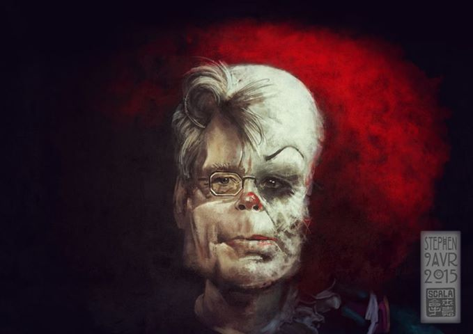 Stephen King / Pennywise, by Eric Scala (french artist) >>> https://www.facebook.com/photo.php?fbid=10153205476359841&set=a.54244754840.48861.697044840&type=1&theater