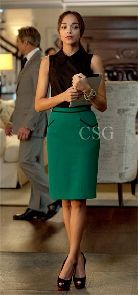 Seen on Celebrity Style Guide: Revenge Style & Fashion: Ashley Madekwe's character, Ashley Davenport, wears this green twill skirt with black trim Jason Wu Twill Pencil Skirt on Revenge Season 2 Episode 3 'Confidence.'