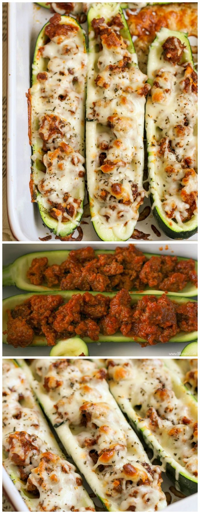 Zucchini Boats filled with Italian sausage and sauce and topped with mozzarella cheese and basil! Get the recipe at { lilluna.com }