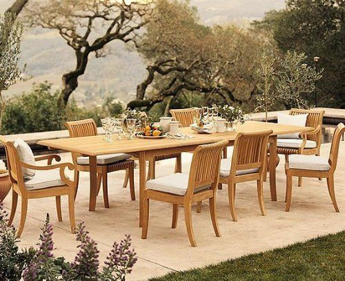 """New 11 Pc Luxurious Grade-A Teak Dining Set - 117"""" Double Extension Rectangle Table 8 Armless and 2 Arm / Captain Chairs [Model:GV8] by WholesaleTeak. Save 42 Off!. $2099.99. Teak wood is an extremely dense course grained hardwood and is widely known for its durability.. You can lengthen the table with minimal effort by simply opening the butterfly leaf extensions.. Dimension: Armlesss Chair- 20"""" W x 22"""" D x 35"""" H and Arm Chair- 22.5"""" W x 22"""" D x 35"""" H. Table Dimension: Approx: 82"""" L(without…"""