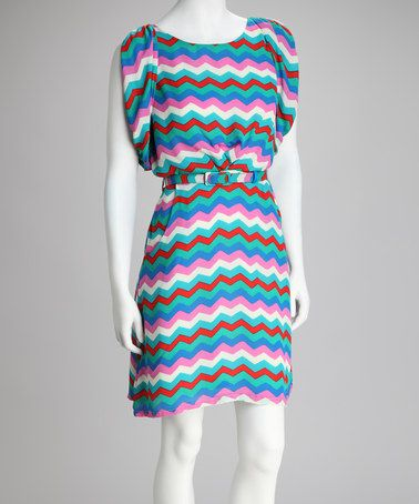 Take a look at this Teal & Pink Zigzag Belted Cape-Sleeve Dress by Reborn Collection on #zulily today!