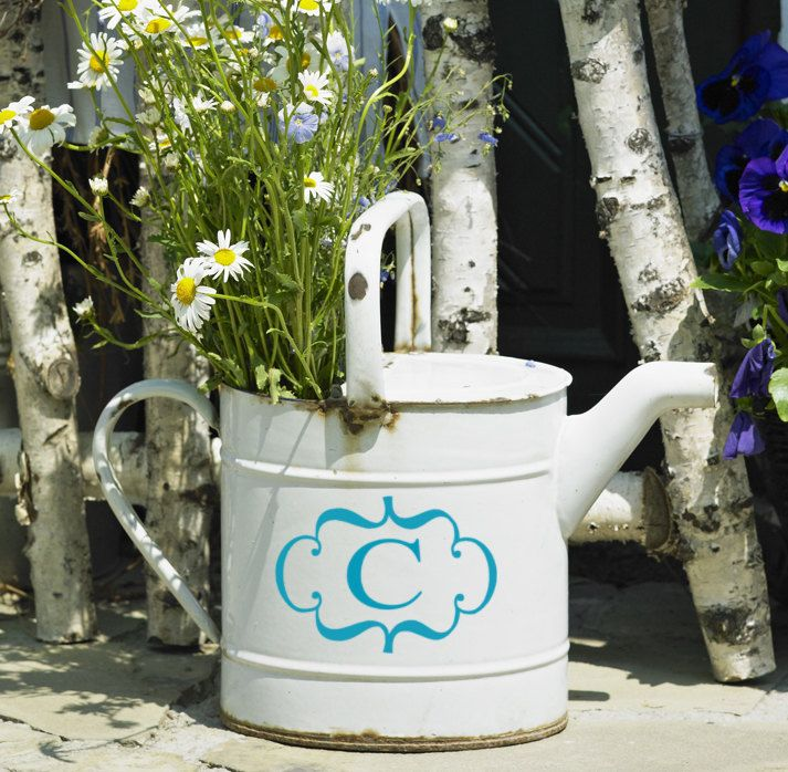 Framed Monogram Vinyl Decal easter Home decor - small. $9.00, via Etsy. (like watering can for front porch)