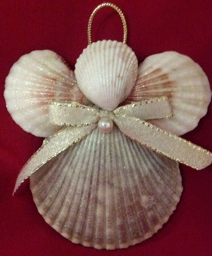 Seashell+Angel+Christmas+Ornament+Beach+by+CathysCoastCreations,+$6.50