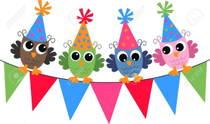 Banner Feliz Aniversario: Happy Birthday Owls Royalty Free Cliparts, Vectors, And