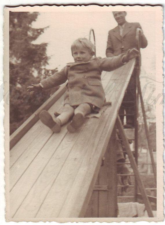 Vintage Photo  Little boy on a slide  Little boy photo