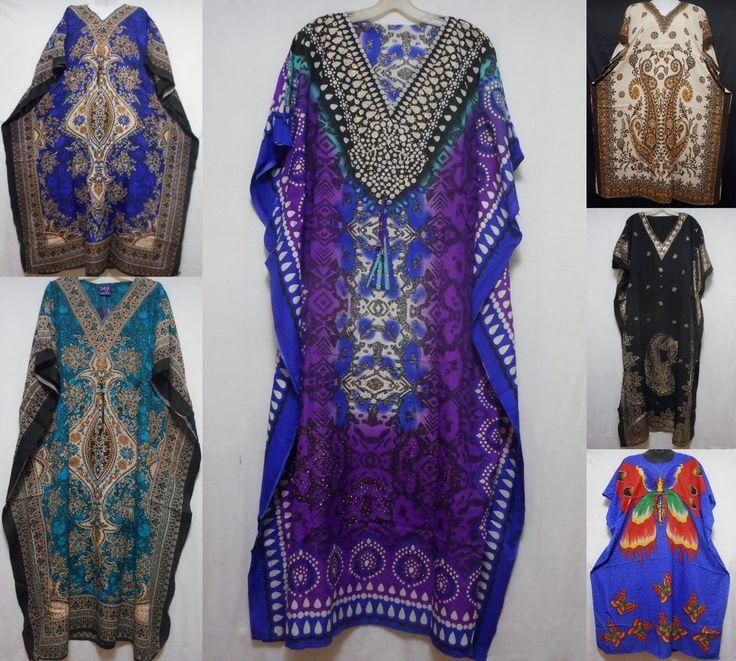 Women's Maxi Caftan Taj Mahal Dress Boho Kaftan Beach Cover Up S M L XL 1X 2X 3X #SBNFDecoraApparel #MaxiCaftanDress #SummerBeach