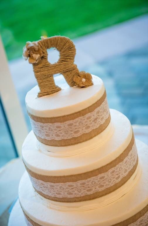 Rustic wedding cake topper Twine, burlap and lace flowers