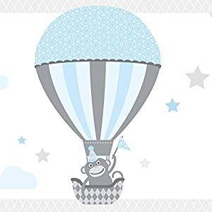 Good wand Bord re selbstklebend HOT AIR BALLOONS Wandbord re Kinderzimmer Babyzimmer mit Tieren in Hei luftballons in