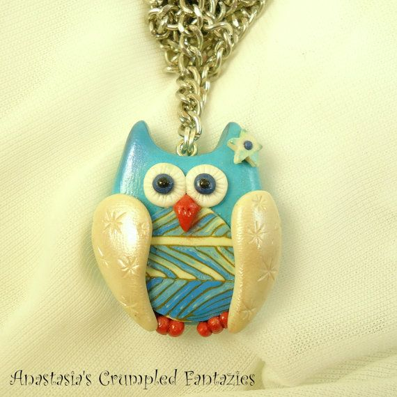 Polymer clay blue white owl necklace  Pearl by CrumpledFantazies