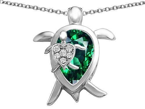 Original Star K(tm) Large Mother and Baby Turtle family Pendant with 12x8mm Pear Shape Simulated Emerald in 925 Sterling Silver Star K. $99.99. Free Chain in a matching metal will be included. Guaranteed Authentic from the Star K designer line. Star K. Designs are exclusive and protected by Copyright Laws
