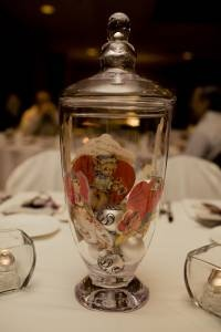 Apothecary jar with vintage valentines