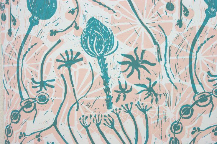 Ella - Digitalised Lino, repeat pattern for wall paper. Truro College A2 Fine Art Coursework 2017