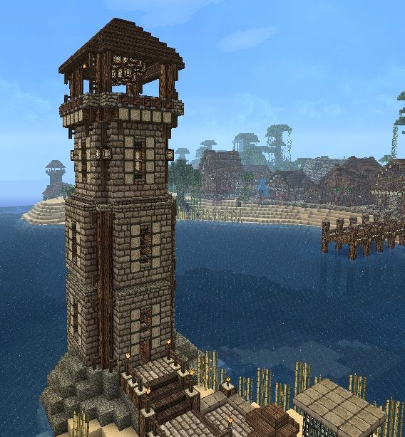 Lighthouse by horsesfree2run minecraft pinterest for Build a castle home