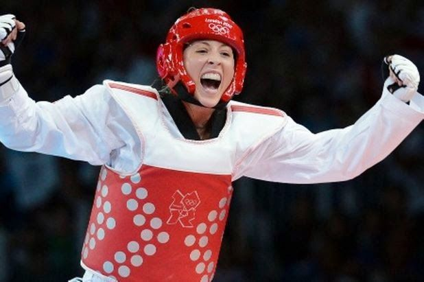 """Jade Jones (born 21 March 1993) is a Welsh taekwondo athlete who represented Team GB at the 2012 Summer Olympics, winning Britain's first taekwondo gold medal, in the women's 57 kg category. She is nicknamed """"The Headhunter"""" because she prefers to try and score points from her opponent's head rather than their body as successful kicks to the head are awarded more points than successful kicks to the body."""