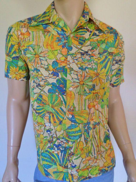 Vintage 1970s psychadelic Hawaiian blacklight shirt utz4L0