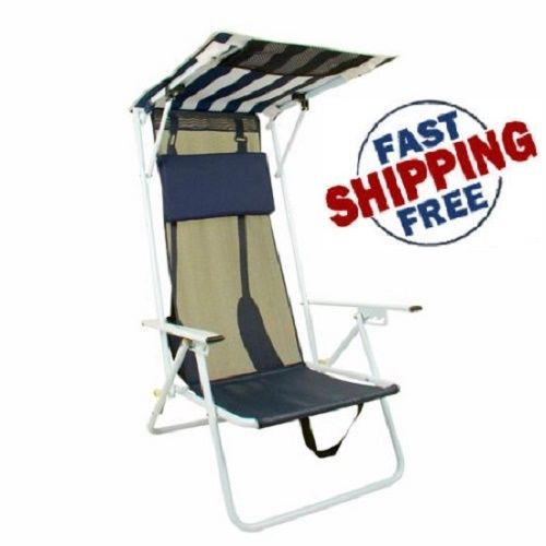 new quick shade folding beach chair with striped canopy - Quick Shade