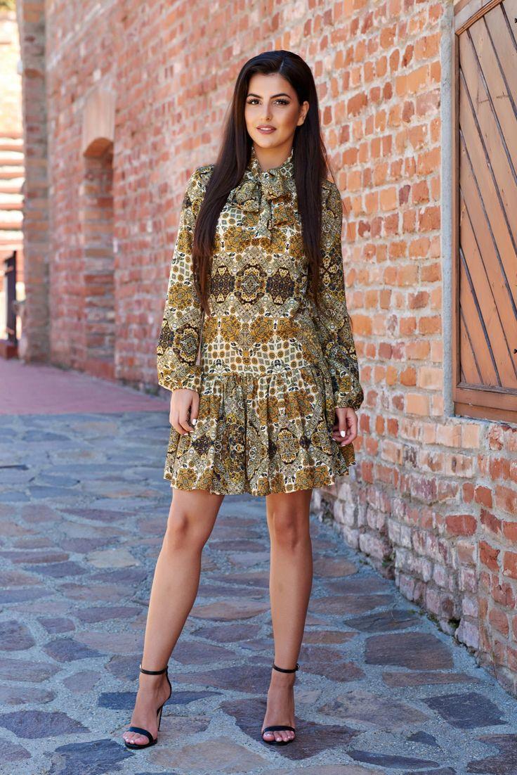 PrettyGirl Particular Beauty Green Dress, print details, back buttons fastening…