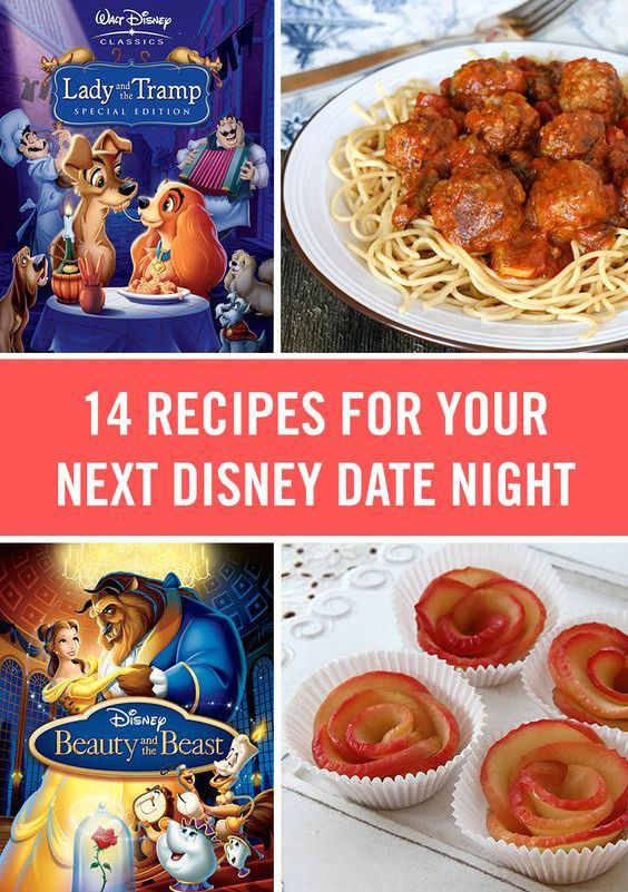 """""""Disney movies and fun recipes that match. From Lady and the Tramp's spaghetti and meatballs to a magic carpet pizza."""""""