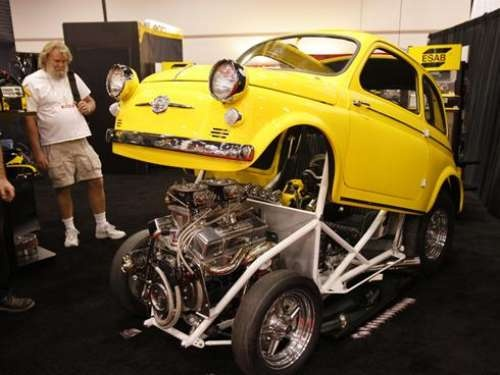 """The textbook definition of """"All business"""": True Heartbeat, Esrb Booth, Gearhead Erotica, Safford Fiat, Nice Rides, Fiat 500, Customized 1959, Textbook Definition"""