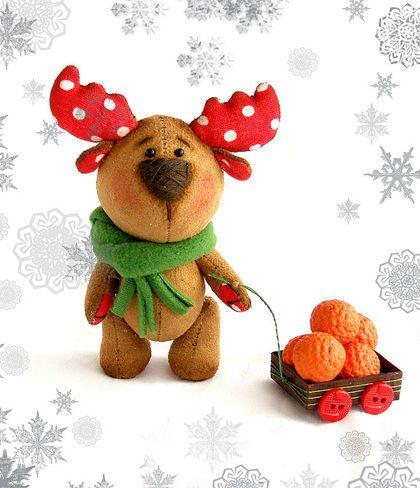 Мишки Тедди ручной работы. Ярмарка Мастеров - ручная работа лось и мандарины. Handmade.
