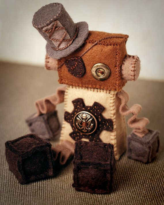 Plush Steampunk Robot with Gear, Top Hat, Eye Patch and Vintage Buttons on Etsy, $32.00