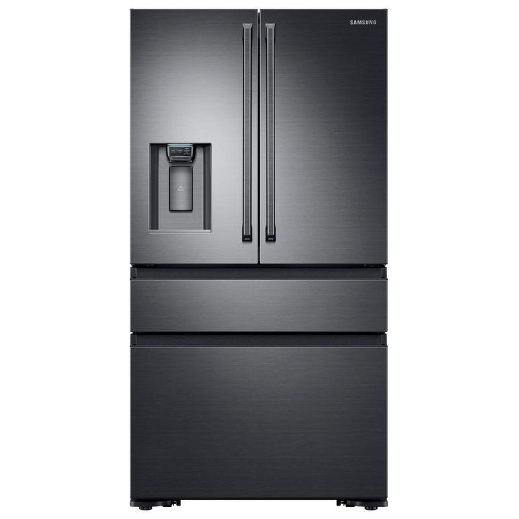Samsung 22.6 cu. ft. 4-Door French Door Refrigerator with Polygon Handle in Black Stainless Steel, Counter Depth