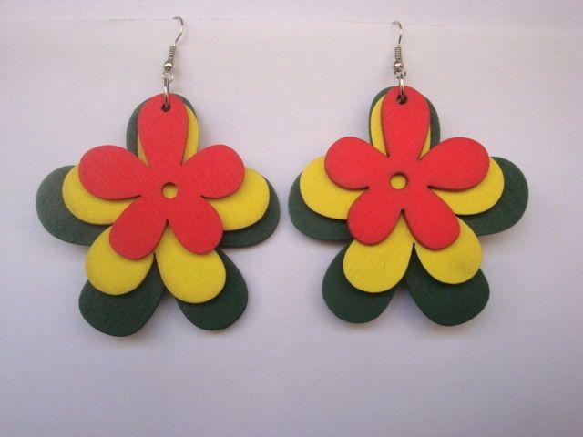 Mixed Red Yellow & Green Wooden Dangle Flower Earrings Women Drop Flower Earring #Congyang #DropDangle