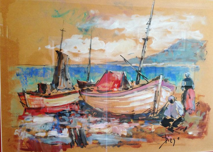 "DiegoVoci™  ""Boats"" done in watercolor is owned by Barbara W. who purchased this and 2 others in Nurnberg in the 70's during a show DIEGO held at the Officer's Wives Club. Matted and set under glass, there is a glare, but the colors are as vivacious as Diego was."