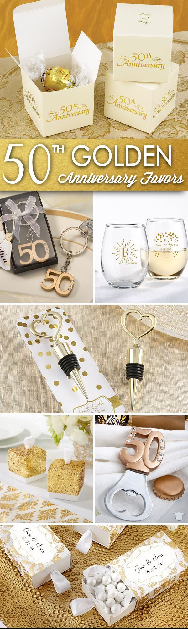 Celebrate a golden moment with golden 50th anniversary party favors....check out these ideas!