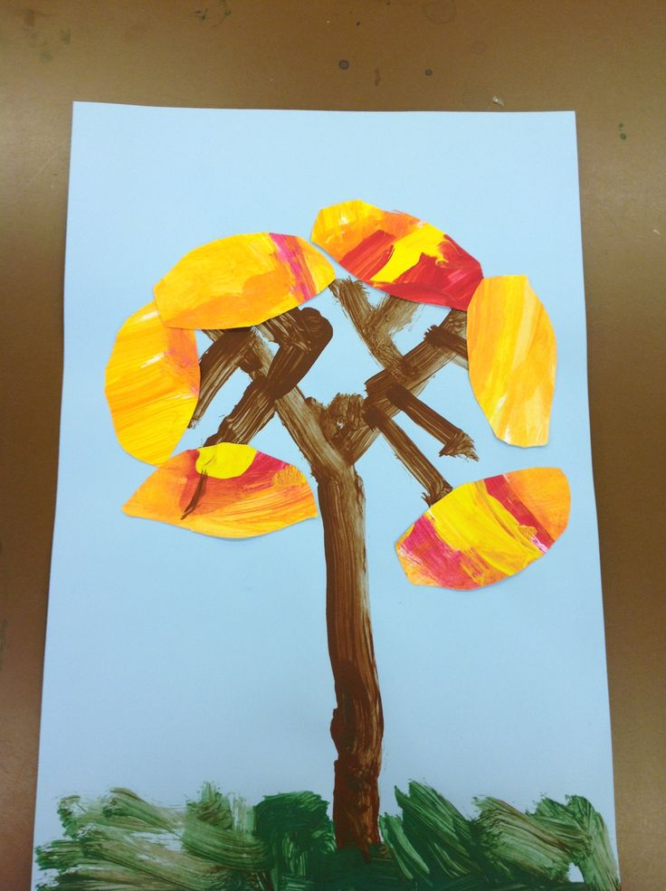 Kindergarten, 1st lesson of the year.  Painted paper with fall colors . cut and glue onto painted background