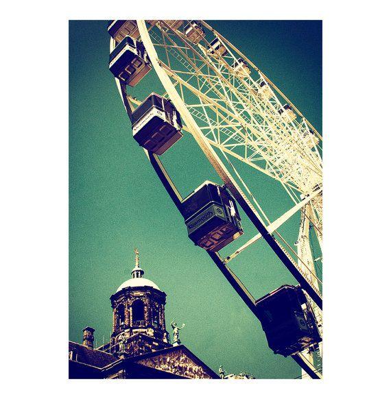 Ferris wheel / Amsterdam Attraction / street photo / Funfair / Fine art photography / Color wall decor artwork / Travel photography