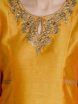Yellow-Golden Gota-Patti Embellished Khari Block Printed Kalidar Chanderi Layered Kurta