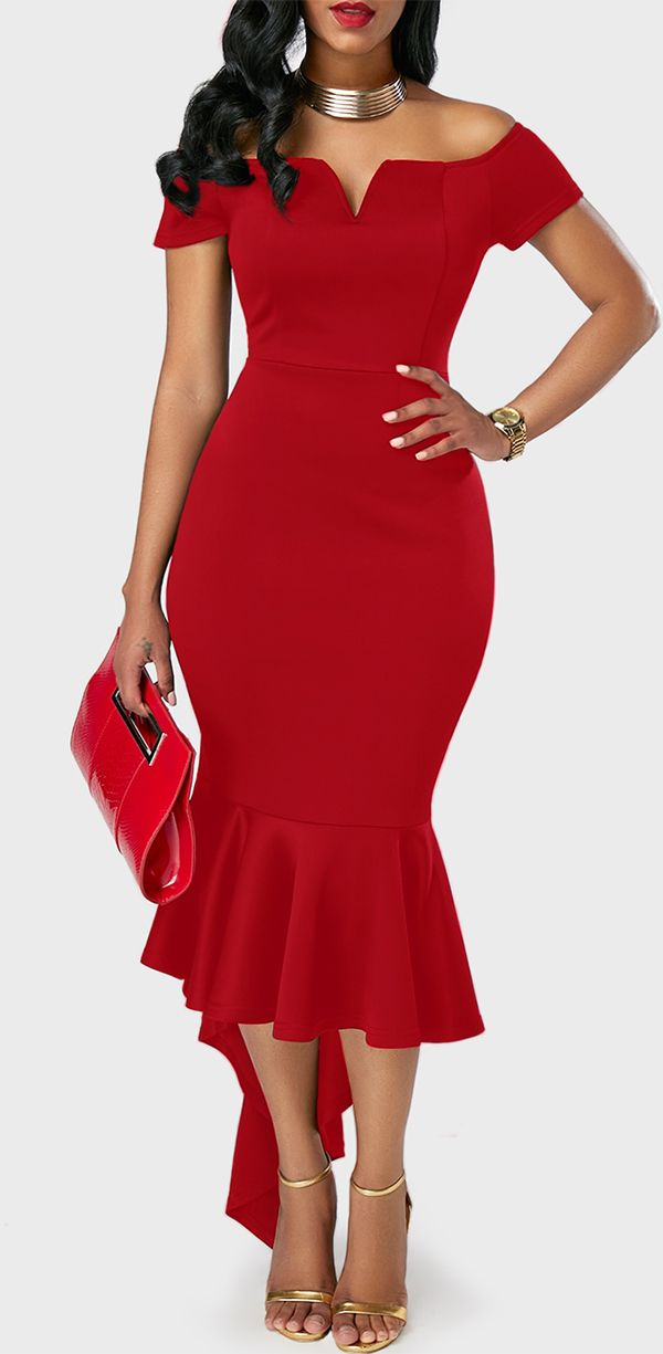 Off the Shoulder Asymmetric Hem Red Sheath Dress, high quality fabric and better service, cute party dress for women, check it out.