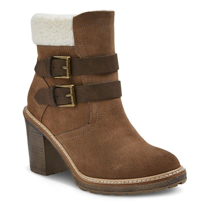 Women's Mountain Sole Julissa Shearling Cuff Buckle Ankle Boots - Taupe (Brown) 7.5