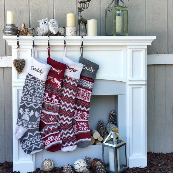 "Personalized Large 28""  Knitted Christmas Stockings Red Grey White Intarsia Fair…"