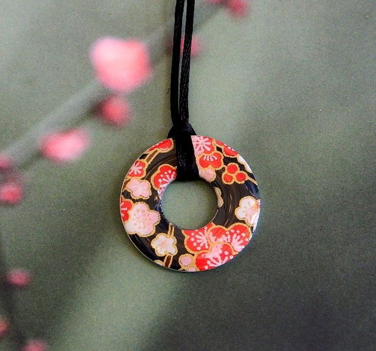 Japanese paper : Pendant and chain Limited edition jewellery and artwork by top Australian designers.  Great  gifts for special occasions - Mother's Day, Birthday, Anniversaries, Teacher gifts. shop at thelittledistinctions.com#gifts #giftsforher #washerpendant #upcycled #jewellery #japaneseinspired #australiandesign #pinkflowers #red #black #environmentallyfriendly #limitededition #teachersgifts #mumgifts #mothersday #grandparents #teenagegifts
