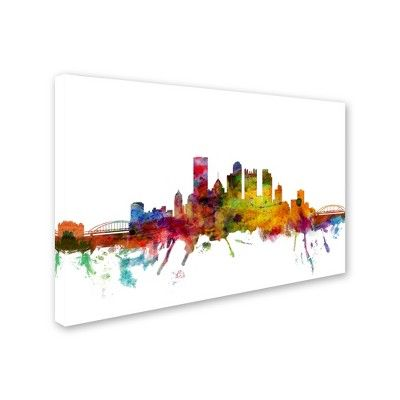 "'Pittsburgh Pennsylvania Skyline' by Michael Tompsett Ready to Hang Canvas Wall Art (22""x32""),"