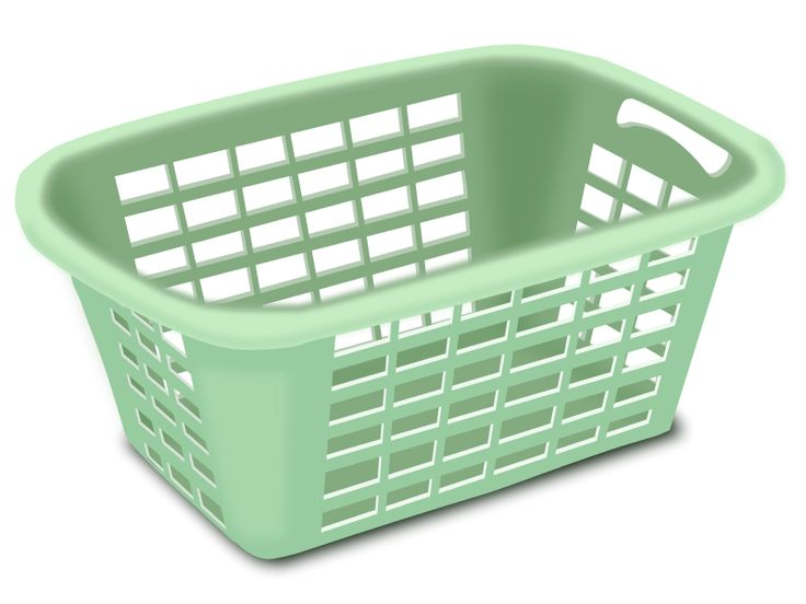 "Plastic Laundry Basket by gubrww2 - An empty plastic laundry basket. The rim and the front two faces are grouped, as are the bottom and back faces. Items can be ""put into"" the basket by stacking between the two. Items sticking above the back of the rim or hanging over the front rim need to be added separately at the top of the SVG stack."