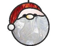 Easy santa round ornament super easy 6 pieces only stained glass pattern of a santa clause for a christmas tree ornament | PDQ Patterns