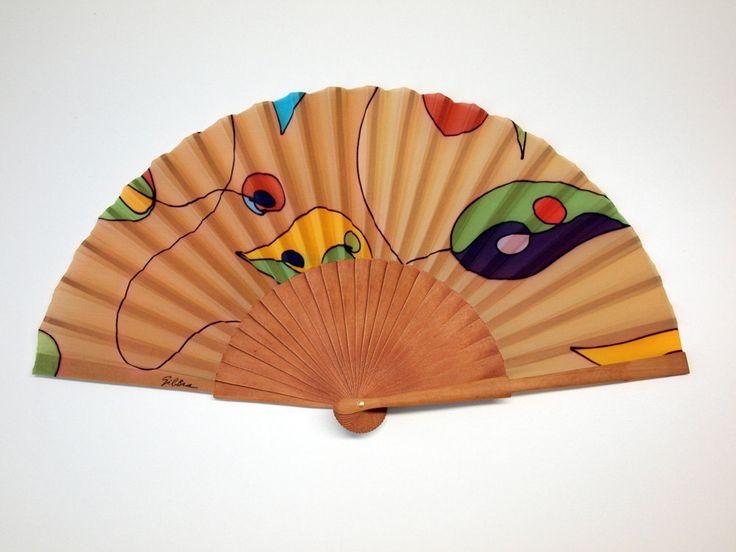 Handpainted Silk hand fan-Wedding hand fan- Silk hand fan-Bridesmaids- Spanish hand fan - Tan hand fan by gilbea on Etsy