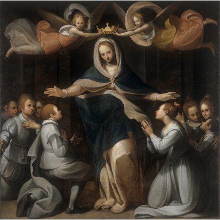 The Orphanage Of Exposed (Madonna Della Misericordia Con I Ricoverati Del Brefotrofio Degli Esposti) Canvas Art - (36 x 24)