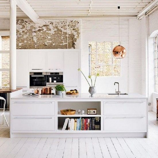 I like the idea of no cabinets (maybe a pantry instead) and instead having all this open surface room to work from.