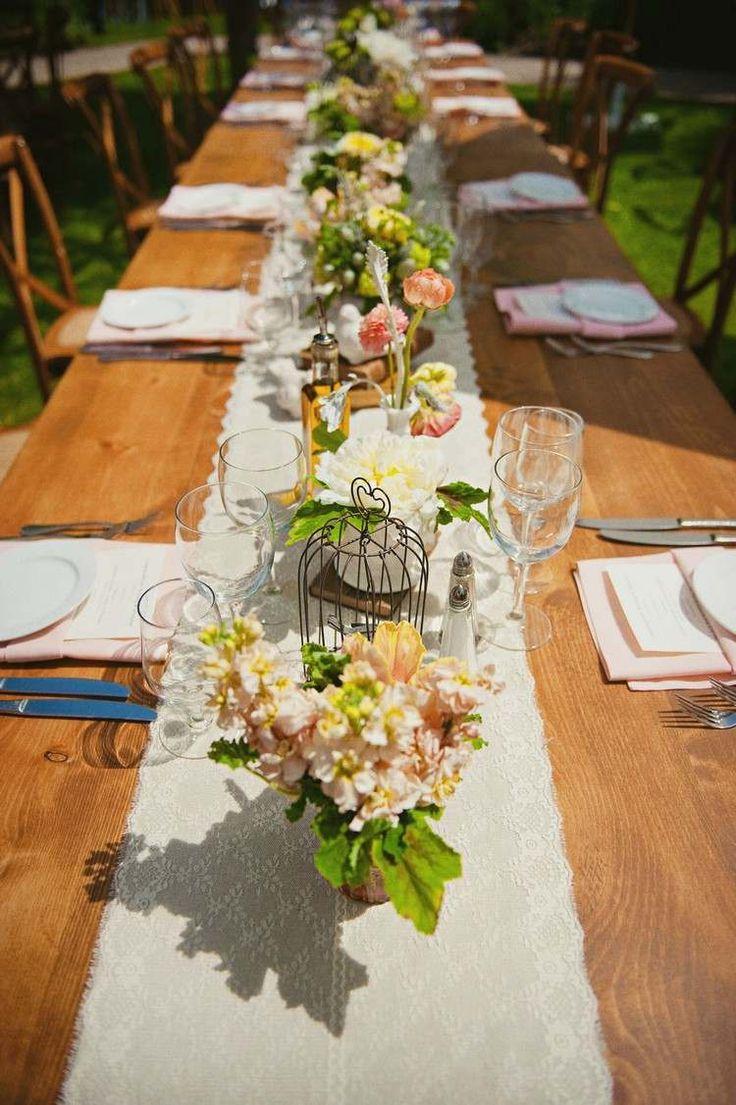 mariage champtre chic en plein air table en bois massif chemin de table - Chemin De Table Color