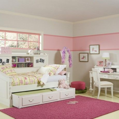 Bedroom : Furniture for girl room with white classic study desk feature carving and white study chair plus white wood bed with trundle as well as pink rug on cream tile flooring - 15 Study Desk for Pretty Girl Room Decorating