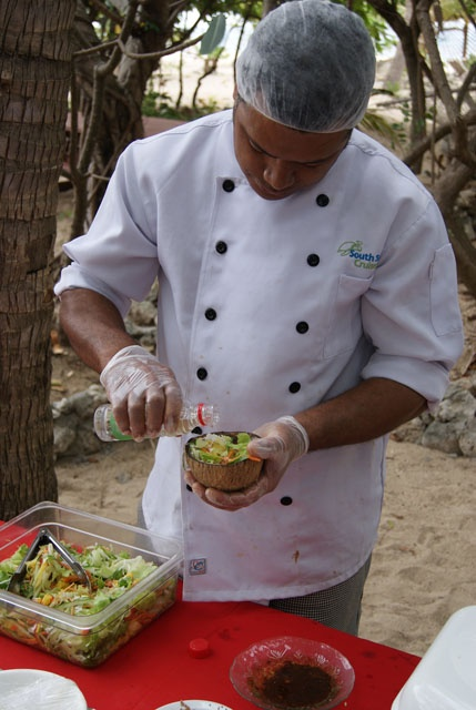 Chef Jim with a cooking lesson on South Sea Island