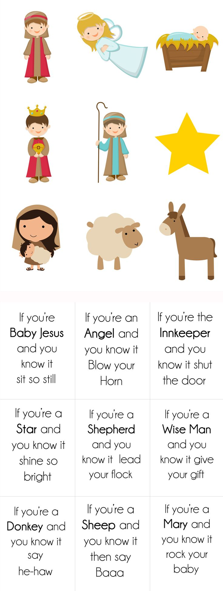 """{ Free Printable} Nativity version of """"if you are happy and you know it."""" For example: """"If your a wiseman and you know it give your gift."""" The cards print back to back so the picture is on the front and the words are on the back. Easy and fun activity for a nursery class, primary singing time, or Kindergarten class party!"""